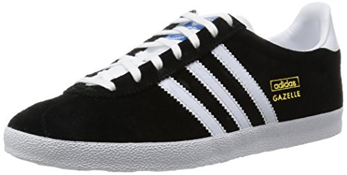 Adidas Gazelle OG Sneakers, Unisex Adulto, Nero (Black 1/White/Metallic Gold), 47 1/3 (12 Erwachsene UK)