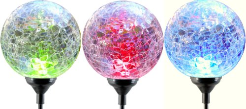Moonrays 91251 Color Changing Solar LED Glass Ball Light Fixture, 3-Pack