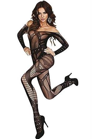 sexy Netz Body Catsuit Bodystocking ouvert Nylon Straps Strümpfe schwarz Top Dessous Reizwäsche
