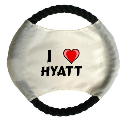 personalised-dog-frisbee-with-name-hyatt-first-name-surname-nickname