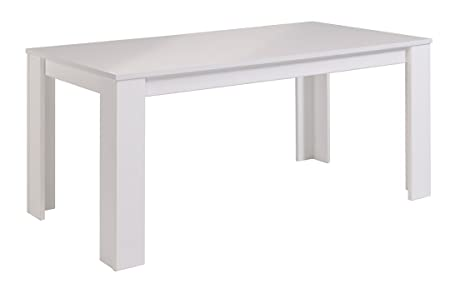Table repas coloris Blanc brillant, H 77 x L 170 x P 88 cm -PEGANE-