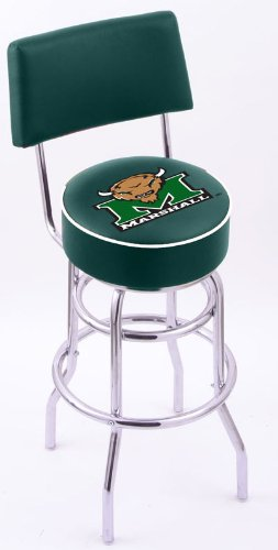 Marshall University Steel Stool with Back, 4'' Logo Seat, and L7C4 Base