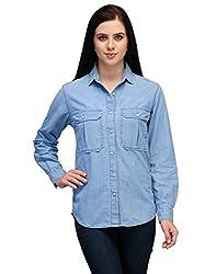Kiosha Blue Full Sleeve Solid Shirts for Women