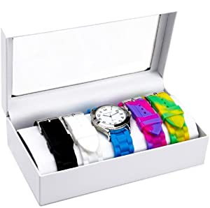 Cerentino Women's RB006 Round White Dial Interchangeable Set Silicone Multi-Colored Strap Watch
