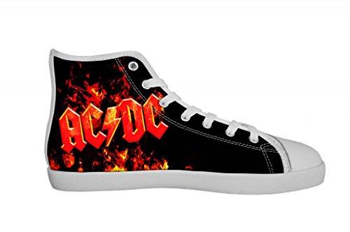 Rock Rock Band AC/DC Women's Canvas Shoes Women White High Top Canvas Shoes-6M US B00OLZOSX0