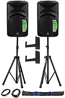 """(2) Mackie SRM450V3 12"""" Active/Powered DJ/PA Speakers Totaling 2000W + (2) Pro X T-SM32 Adjustable Speaker Wall Mounting Brackets , Black + Pair Rockville RVSS2-XLR of Hevy Duty Pro PA Speaker Stands + (2) 20' XLR Cables + Carrying Case"""