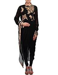 Kalki Fashion Black Suit Featuring With Zardosi And Cowl Drape Only On Kalki