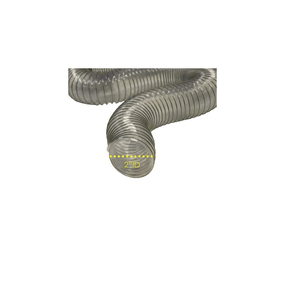 PVC Flexduct (Light Duty) Clear   Vent Hose   2 ID x 25ft Length Hose (Fully Stretched)