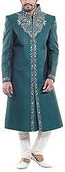 Amafhh Men's Silk Sherwani (amfsh276green, Green, 38)
