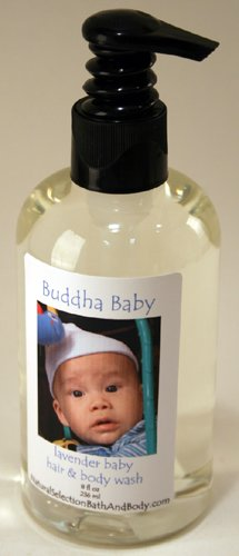 Personalized Buddha Baby Lavender Hair & Body Wash with blue font on label