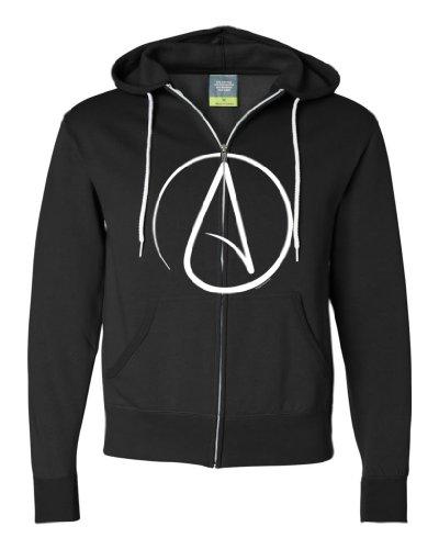Atheist Symbol Zip-Up Sweatshirt Hoodie By Dsc - Black Medium front-189585