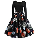 Clearance Halloween Dress, Forthery Women Pumpkin Skull Skater Swing Dress Vintage Elegant A-line Skull Dress