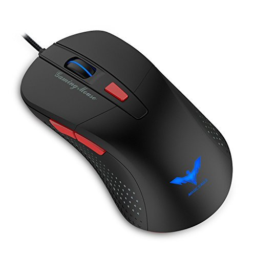 HAVIT 2800 DPI 4 LED Mouse da Gioco con Cavo e Luci Ottiche, Black / Red (MS745)