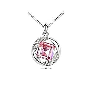 Blue Pearls-Pendentif Cercle Cristal de Swarovski Element Rose et Plaqué or blanc-PDC B261 W rose