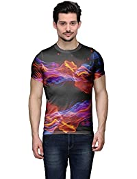 Wear Your Mind Multi-Coloured Poly Cotton Round Neck Printed T-shirt For Men CST130