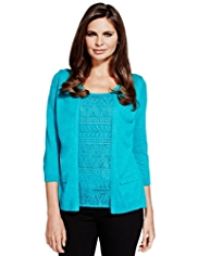 Per Una Floral Lace Mock Layer Knitted Top