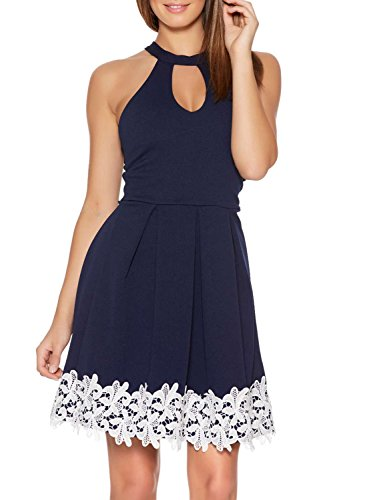 Fantaist Women's Halter Neck Backless Patchwork Floral Lace Homecoming Dress (8, Royal Blue)