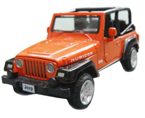 Nuoya001 Jeep Wrangler Convertible Alloy Diecast Car Model 4-Door Suv Light&Sound Orange