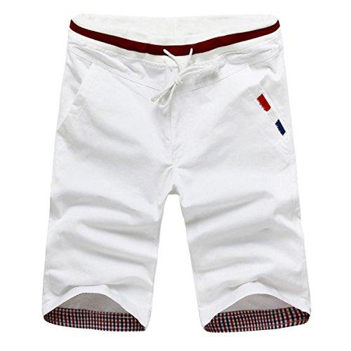 Pishon Men's Bermuda Shorts Regular Drawstring Chino Pants Casual Summer Shorts, White, Tag Size 4XL=US Size L White Casual Shorts