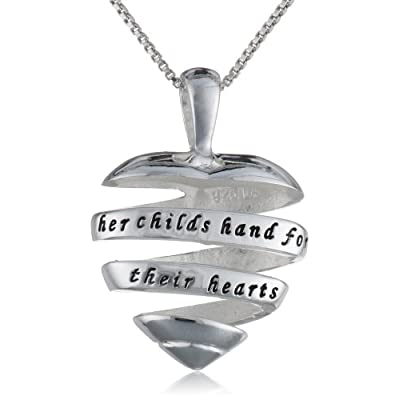 "Sterling Silver ""A Mother Holds Her Childs Hand For A Short While and Their Hearts Forever"" Open Heart Pendant Necklace, 18"": Necklaces For Mom: Jewelry"