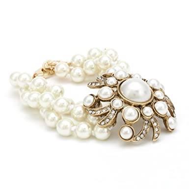 Three Strand Pearl Flower Bracelet||RF10F