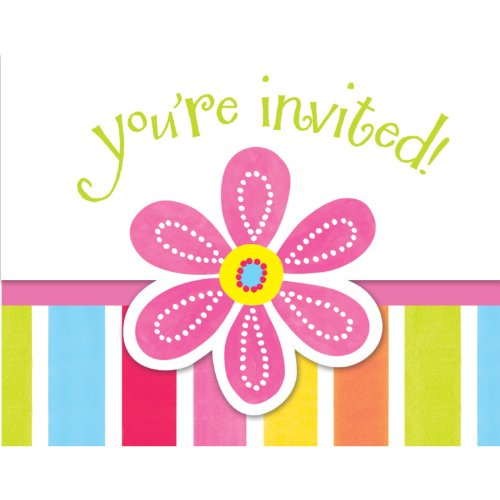 Creative Converting Pink Flower Cheer 8 Count Enhanced Party Invitations