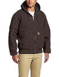 Carhartt Men\'s Quilted Flannel Lined Sandstone Active Jacket J130,Dark Brown,Large