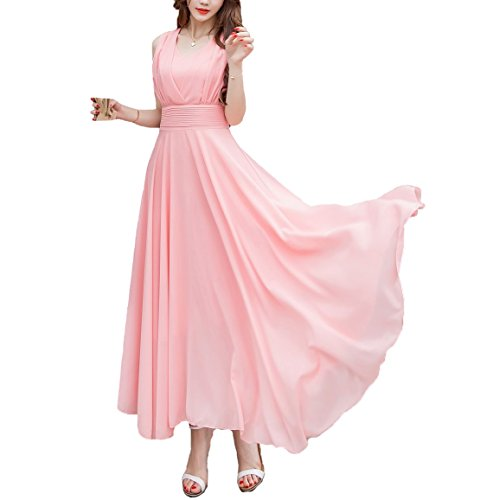 Afibi Women Double Sleeveless Ruched Waist Ladies Long Evening Dress (Medium, Pink)