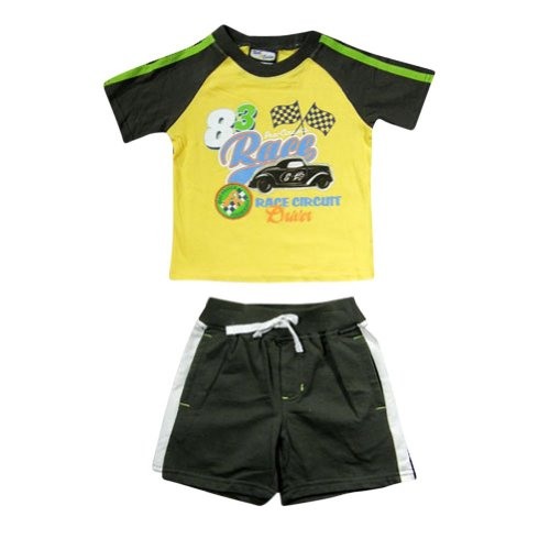Nick & Eddie - Little Boys Short Sleeve Short Set, Yellow, Brown 14246-3T