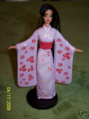 1996 McDonalds Happy Meal Toy Mattel International Barbie #3 Japanese Barbie Figurine Doll in Kimono & Stand - 1
