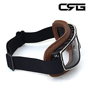 CRG Sports Vintage Aviator Pilot Style Motorcycle Cruiser Scooter Goggle T13 T13BCN Transparent Lens Brown Padding