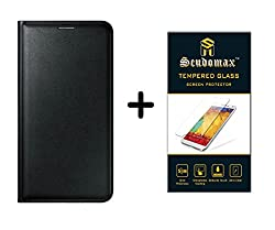 ScudomaxTM Premium Combo OF Tempered Glass and Synthetic Leather Flip Cover Premium Black For Lenovo Zuk Z1