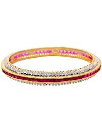JFL - Ethnic Fusion Cz Cubic Zircon American Diamond With Semi Precious Ruby Designer One Gram Gold Plated Bangle...