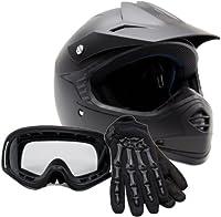 Youth Offroad Helmet Gloves Goggles GEAR COMBO Motocross ATV Dirt Bike Motorcycle Matte Black L Large by Typhoon Helmets