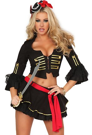 3Pc Vixen Voyager Pirate Costume, Includes Top, Skirt, And Sash