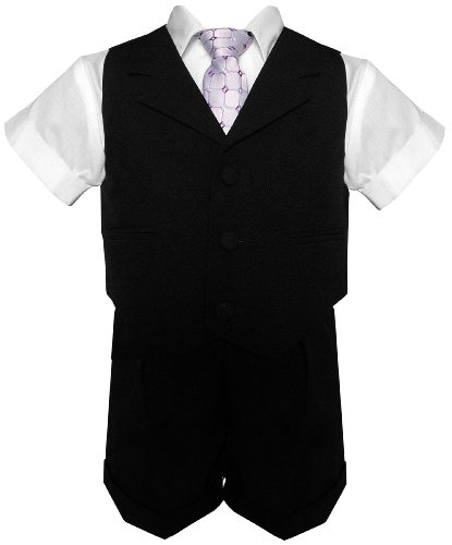 G240 BLACK Baby Toddler Boy Summer Suit Black Short Set (X-Large (18-24 months))
