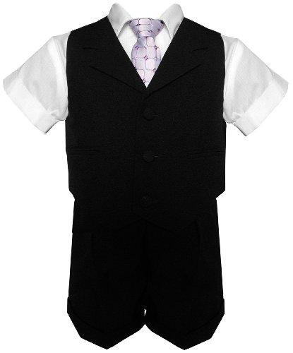 G240 Black Baby Toddler Boy Summer Suit Black Short Set (4) front-665148