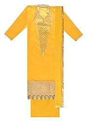 Fashion Hut Women's Cotton Unstitched Dress Material (Yellow)