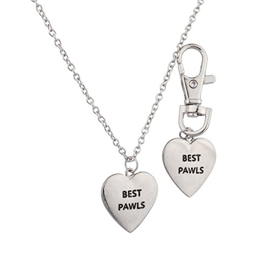 Lux Accessories Best Pawls Pals BFF Dog Collar Friends Forever Keychain Matching Owner Necklace Set. (Matching Dog And Owner compare prices)
