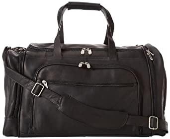 Piel Leather Multi-Compartment Duffel Bag, Black, One Size
