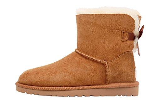 Ugg Australia Mini Bailey Bow Chestnut shipskin boots - Stivaletti marrone nocciola in montone con fiocchetti