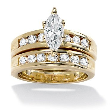 2-Piece DiamonUltra™ Cubic Zirconia Wedding Ring 14k Gold-Plated Set, Sizes 11-14