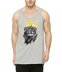 Nimfill Mens Printed Vest(NFMVG12.1L_Grey_Large)