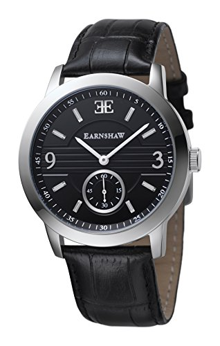 Thomas Earnshaw ES-8022-01 Mens Greenock Black Croco Leather Strap Watch