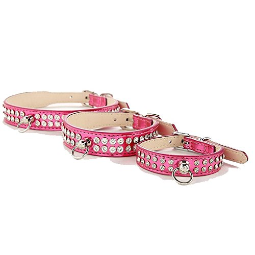 LoveOurHome Luxurious Bling Leather Crystal Dimond Rhinestones Dog Pet Collars, Soft Alloy Buckle Dog Collars, New Desiger Puppy Cat Collars (S, Pink)