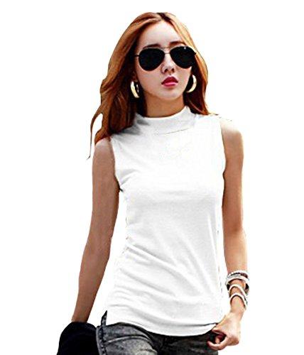 Women's Mock Turtleneck Fullback Sleeveless Shaping Tank Top Shirt Tops White XX-Large