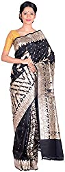 Sree Howrah Stores Women's Silk Saree with Blouse Piece (Black)