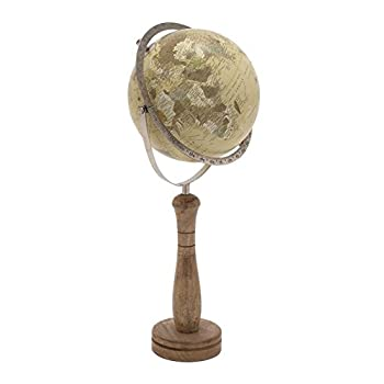 Deco 79 24074 Classic World Globe On Wooden Stand, Small