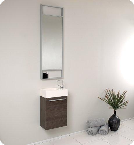 Fresca Pulito Small Gray Oak Modern Bathroom Vanity w/Tall Mirror