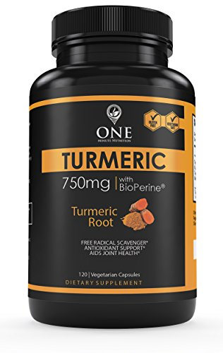 Turmeric Curcumin Supplement with BioPerine by One Minute Nutrition - Natural Pain Relief & Joint Support Supplement (1500mg Per Serving, 95% Standardized Curcuminoids) - Made in USA, 120 Capsules (Kratom Powder Extract compare prices)